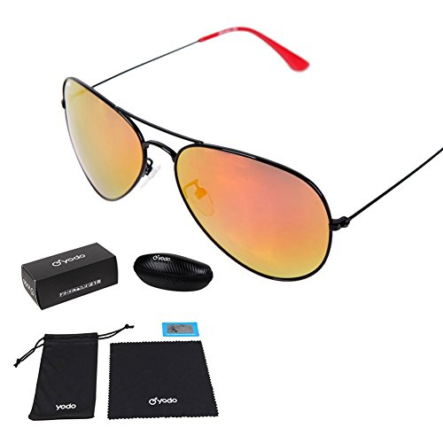 Yodo Classic Aviator Sunglasses Polarized for Men&Women,100% UV Protection,Metal Frame Colored Lense with Carrying Case,Ice Orange
