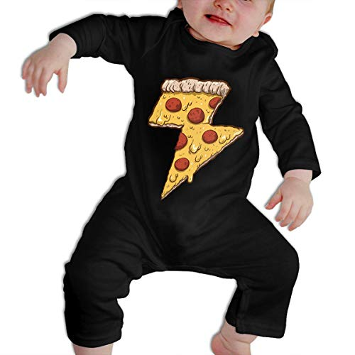 KAYERDELLE Cool Thunder Cheesy Pizza Long-Sleeve Unisex Baby Onesies For 6-24 Months Boys & Girls -
