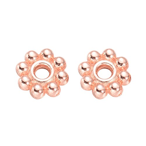 NBEADS 300pcs 5mm Alloy Rose Gold Daisy Flower Spacer Beads Loose Beads for DIY Jewelry Making Findings ()