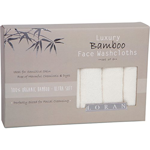 Luxury Bamboo Facial Washcloths, Set of 6, white, 10''x10''