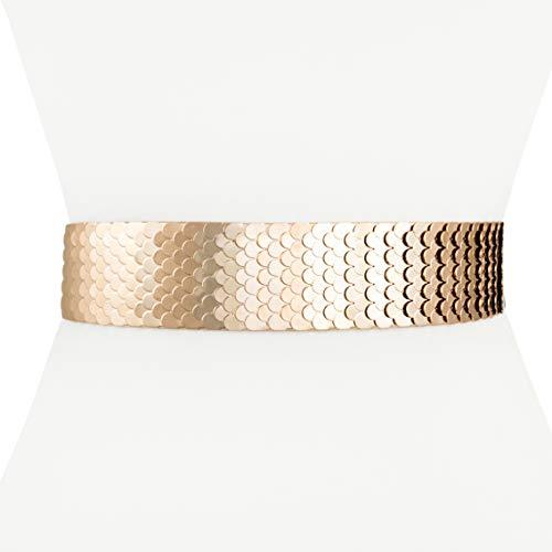- Two 12 Fashion Women's Scaled Texturized Metallic Belt, Rose Gold