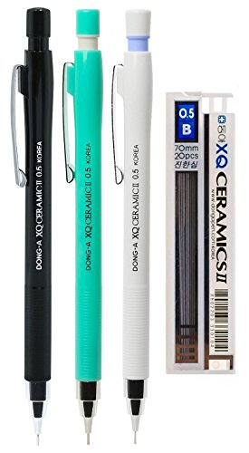 DONG-A XQ Ceramic II Mechanical Pencil, 0.5mm, Assorted Colors (Pack of 3 with Lead (Propelling Pen Refill)
