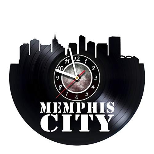 AMARAroom Memphis City - Wall Clock Made of Vinyl Record - Original Decor - Unique Design - Incredible Gift Idea for Christmas Birthday Anniversary Women Men Boyfriend Girlfriend Teens Friends -