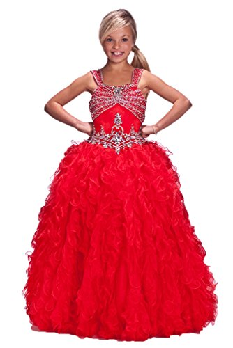 GreenBloom Girls' Organza Straps Crystals Brooch Pageant Ball Gowns Red 10