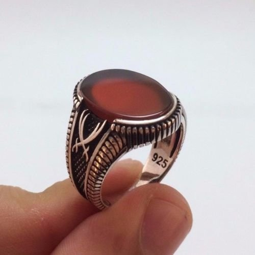 Turkish Ottoman Jewelry Zulfiqar Sword Agate 925K Sterling Silver Men's Ring