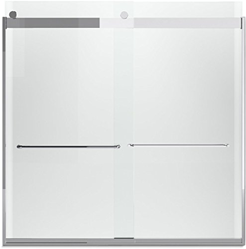 KOHLER K-706005-L-SH Levity  Bypass Bath Door with Towel Bar and 1/4-Inch  Crystal Clear Glass in Bright Silver (Kohler Glass Shower Door compare prices)