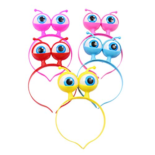 NUOBESTY LED Eyeball Headband,Light up Alien Head Headwear,Flashing Eyeball Headband for Halloween,Concerts,5pcs(Mixed Color)