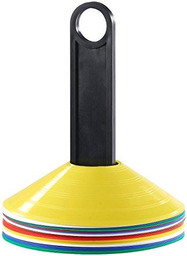PEARL sports Belastbare Markierungshütchen mit Trage-Ständer, 5 Farben, 25 Stück