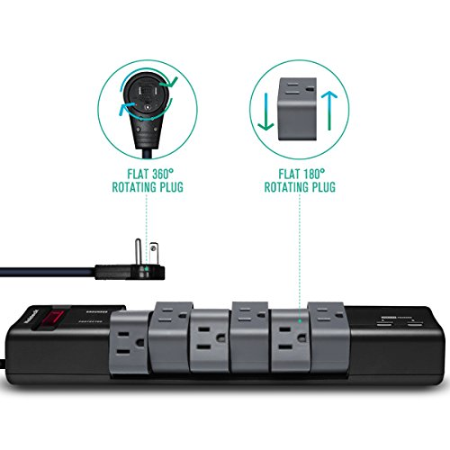 Nekteck [UL Listed] 90/180 Degree Rotating Power Strip/Surge Protector,360°Flat Wall Charger Plug with 6-Outlets 2 USB 2.4A Charging Ports and 6FT Power Extension Cord Surge Suppressor by Nekteck (Image #1)'