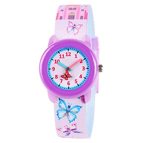 Watch Friends Teacher Time (Venhoo Kids Watches Cute Cartoon Waterproof Fabric Strap Children Toddler Wrist Watch Time Teacher Birthday Gift 3-10 Year Girls Little Child-Butterfly)