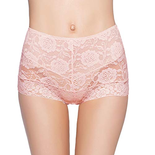 (Eve's temptation Janice Women's High Waist Lace Panties Tummy Control Seamless Slimming Underwear Full Coverage Brief-Pink XX-Large)