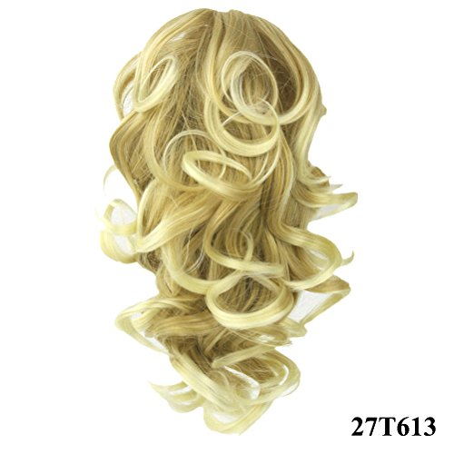 "PrettyWit 12"" Ponytail Big Wave Clip in on Pony Tail Hair Extensions Hairpiece Wig Jaw Claw(Strawberry Blond to Bleach Blond 27T613)"