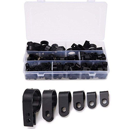 (Cable Clamp 200 Pcs Black Nylon Screws Plastic R-Type Cable Clamps 3/16