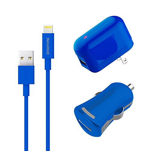 (Apple MFI Certified Wall Charger Adapter and Lightning Cable 4FT with Car Charger - 2.4 Amp Charger Kit with Rapid Charge Apple Lightning to USB Cable for iPhone iPad iPod Multi Charger - Blue)