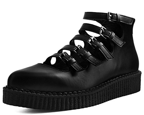 - T.U.K. Shoes A9417L Womens Creepers, Black TUKskin Multi-Strap Pointed Mary Jane Creeper - US: Womens 6 / Black/Polyurethane