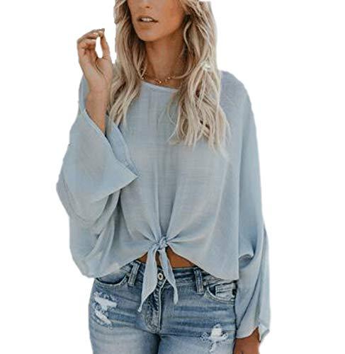 Oneforus Shirt Stile T Casual Blu Britannico Maniche Orlare Tinta da Lunghe Cravatta Camicetta Camicie Girocollo a Unita Maglietta wgAxr5wU