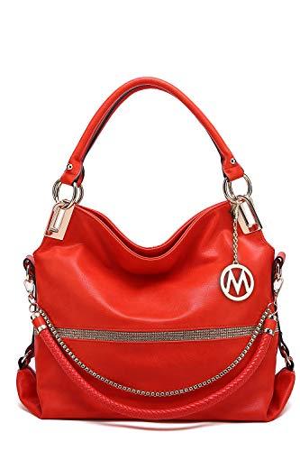 MKF Hobo Crossbody Bag for Women - Satchel Shoulder Handbag - Vegan Leather Top Handle Purse Removable Strap Coral ()