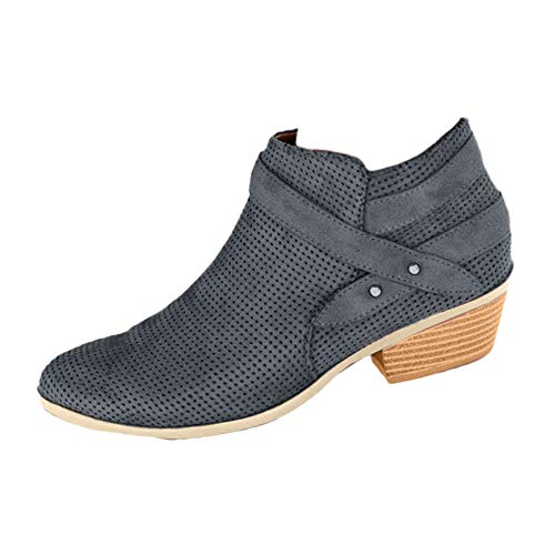 Fire And Safety Shoes, Womens Retro Pointed Toe Buckle Strap Square Heel Zipper Suede Single Shoes Martin Boots, Ankle Fancy Across Black After Hours Ski Lace Boot Water Gray 8 M
