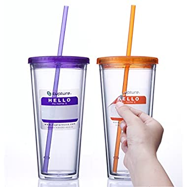 Cupture® Classic Insulated Double Wall Tumbler Cup with Lid, Reusable Straw & Hello Name Tags - 24 oz, 2 Pack (purple/orange)