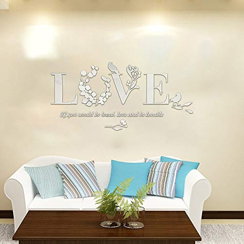 Iusun Wall Sticker D Leaf LOVE Wallpaper Removable DIY Mural Paper Decoration -