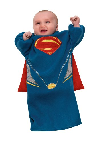 Size 0 Halloween Costumes (Rubie's Costume Man Of Steel Superman Bunting, Blue/Red, Newborn)