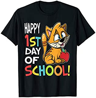 Happy 1st Day of School  Back to School Cat T-shirt | Size S - 5XL