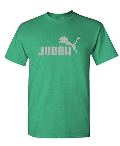 Judah Jumping Lion - Parody Faith Savior - Mens Cotton T-Shirt, XL, Green