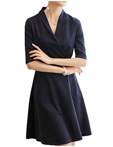 Confortables Femmes Coupe Slim Bleu Marine Couleur Pure Robe De Soirée D'affaires Tunique V-cou Bleu