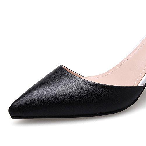 Nine Seven Cuero Moda Puntiagudos Zapatos de Tacón Grueso con Correa de Tobillo para Mujer negro