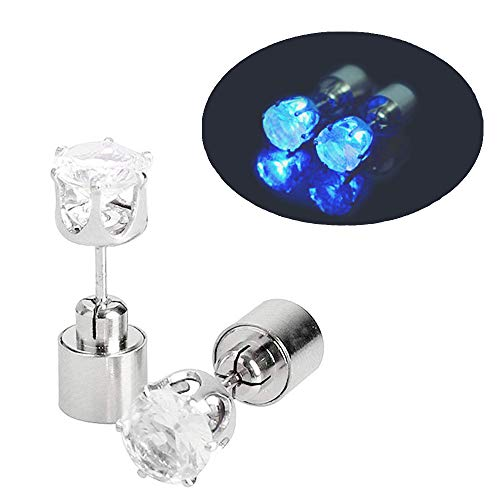 IC ICLOVER 1 Pair LED Earrings Glowing Light Up Diamond Crown Ear Drop Pendant Stud Stainless Multi-Color for Party Hallowmas Thanksgiving Day Christmas -Blue