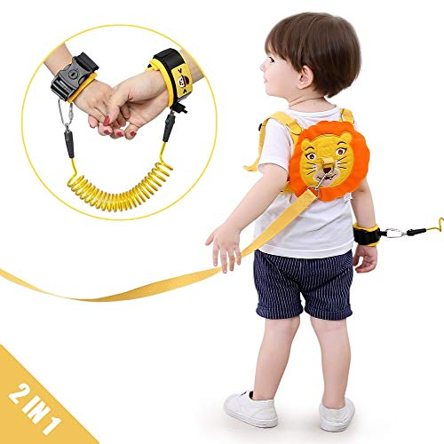Lehoo Castle Toddler Leash for Walking, Toddler Safety Harnesses Leashes, Safety Harness with Lock for Kids, Anti Lost Wrist Link Safety Wrist Link for Toddlers (Lion)