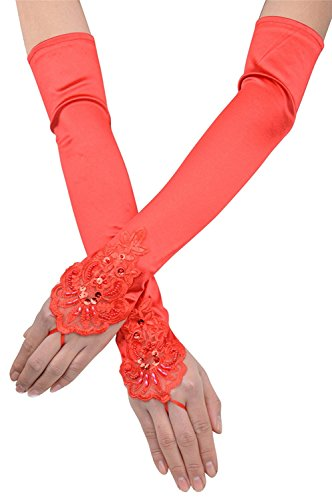 Elbow Length Satin Fingerless Gloves - Love Millie Bridal Long Elbow Length Satin Fingerless Gloves Floral Embroidery Lace & Sequins (red)
