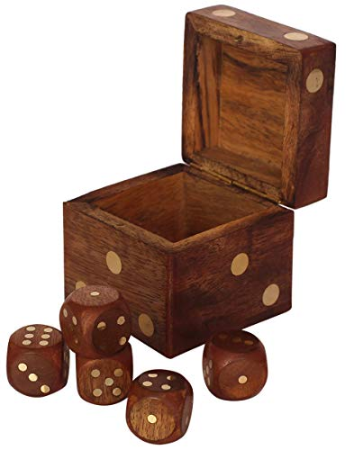 Dice Box with 5 Wood Dice - Crafkart Handmade Indian Dice Game Set Decorative Storage Box - Includes 5 Wooden Dice - Unique Present