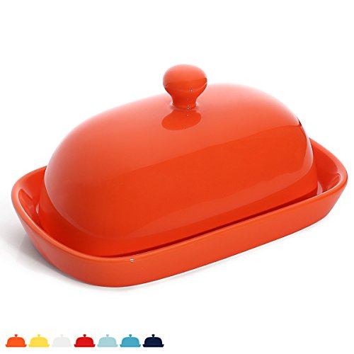 Sweese 3168 Porcelain Cute Butter Dish with Lid, Perfect for East/West Butter, Orange