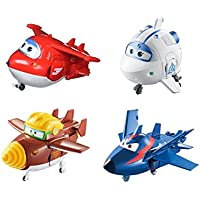 "SUPER WINGS - Transforming Toy Figures 4 Pack |Jett Todd Astra & Agent Chase |5"" Scale"