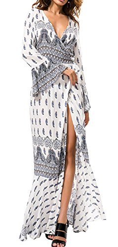 R.Vivimos Womens Summer Long Sleeve Cardigan Sexy Maxi Long Dresses (Blue, Free - Wedge Front Bow