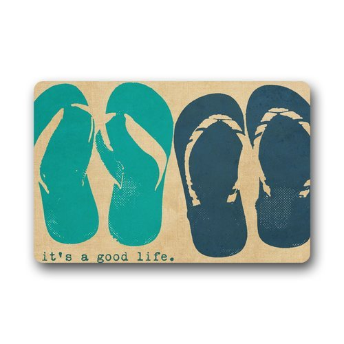 (Doormat Machine-Washable Door Mat Flip Flop Indoor/Outdoor Decor Rug 30(L) x 18(W) Inch)