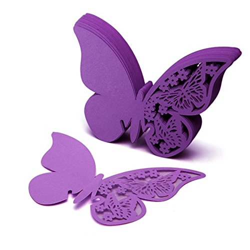 SHZONS trade; 50pcs Wine Glass Cup Cards Wedding Party Table Name Place Cards Favor Decor Butterfly Laser Cut Design Table Favor Decor, Purple -