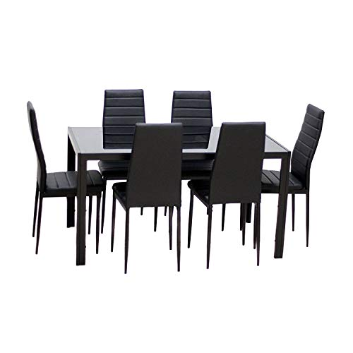 EBS 7 Piece Dining Table Set for 6 Kitchen Dinette Furniture with Glass Top and Metal Leg, Black