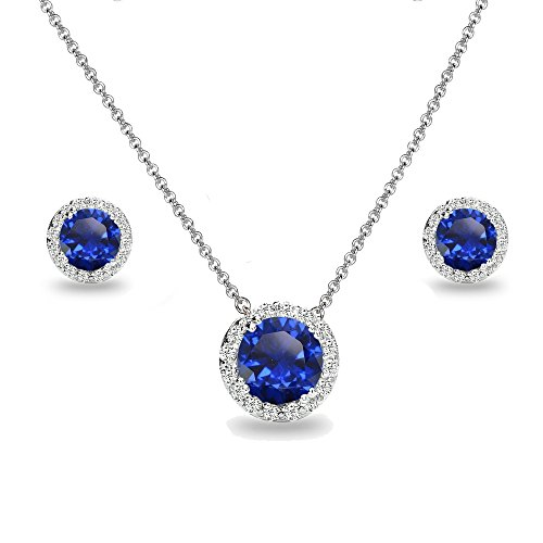 Sterling Silver Created Blue Sapphire and White Topaz Round Halo Necklace and Stud Earrings Set (Sapphire White Set)