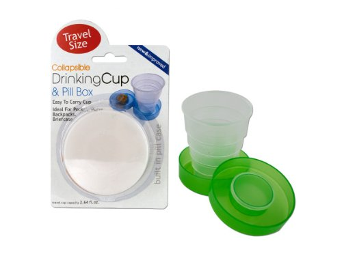 Collapsible Drinking Cup Pill Box Case of 12