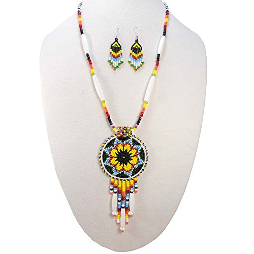 HOLIDAY SHOPPING Viva BLACK YELLOW NATIVE STYLE SEED BEADED MEDALLION NECKLACE EARRINGS SET S-51/8