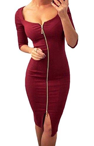 Coolred-femmes Maigres Découpées Zip Col Carré Sexy Robes Pures Club De Couleur Rouge Vin