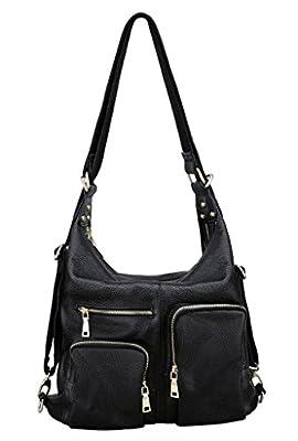 Yahoho Women's Soft Top Grain Genuine Leather Top Handle Cross Body Shoulder Bag Convertible Backpack
