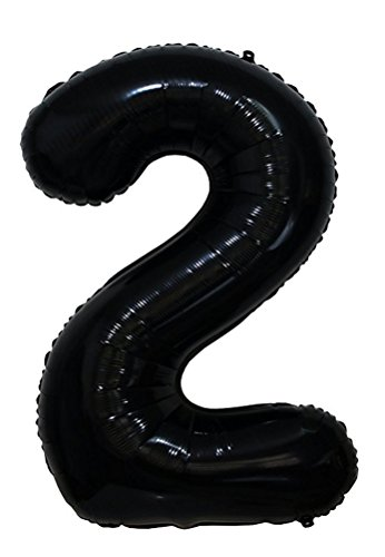 Tellpet Black Number 2 Balloon, 40 Inch