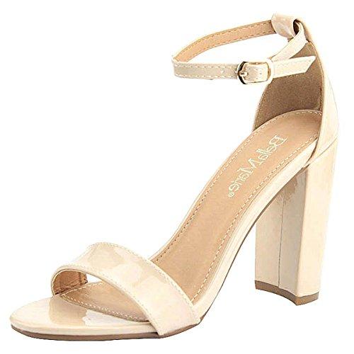 Bella Marie Women's Strappy Block High Heel Sandal (10 B(M) US, Nude - Unique High Sandals Heel