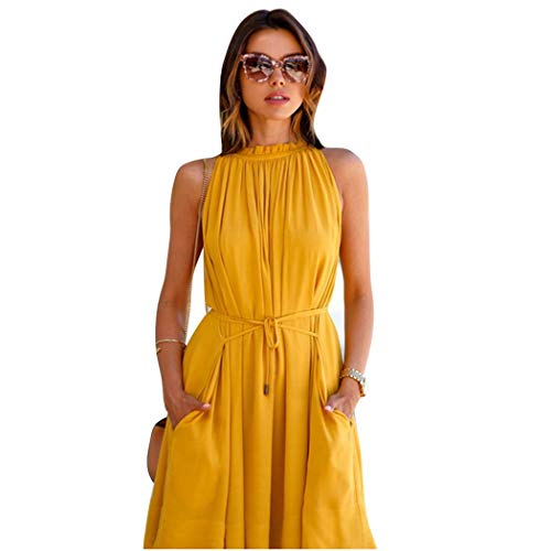 Weardear Women Summer Solid Color Pleated Dress Lace Up Fashion Dress Dresses Yellow