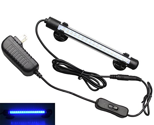 Lighting Aquarium Blue - Mingdak LED Aquarium Light Kit for Fish Tank,Underwater Submersible Crystal Glass Lights Suitable for Saltwater and Freshwater,18 LEDs,7.5-inch,Lighting Color Blue