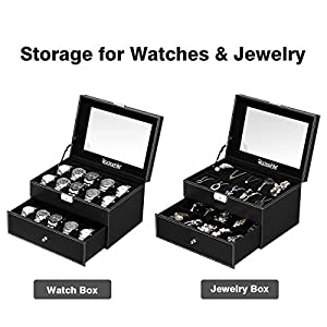 Rackaphile Watch Storage Box, 20 Slot Watch Display Case Leather Lockable Watch Organizer Box Jewelry Box Drawer with Real Glass for Men and Women, Black