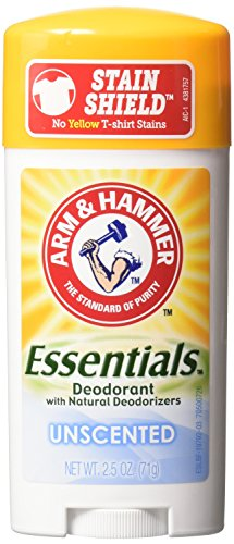 Price comparison product image Arm & Hammer Essentials Natural Deodorant Solid, Unscented, 2.5 Ounce (Pack of 3)